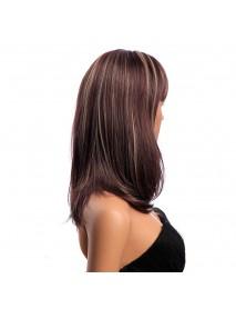 16 Inch Medium Long Natural Straight Synthetic Hair Wigs KANEKALON Full Bang