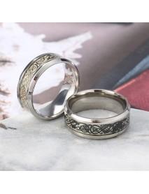 Fashion Luminous Stainless Steel Finger Ring Dragon Pattern Punk Gift for Men