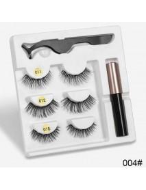 3 Pairs Magnetic Eyelashes with 1Pc Magnetic Liquid Eyeliner with 1Pc Tweezers Waterproof Long Lasting Eyelashes Extension False Eyelashes