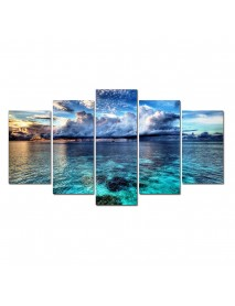 5 Pcs Wall Decorative Oil Painting Canvas Sea Landscape Wall Decor Art Pictures Frameless Wall Hanging Decorations for Home Office