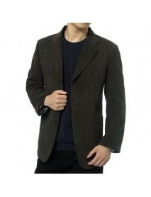 Mens Corduroy Casual Suit Blazers Solid Color Spring Autumn Coats