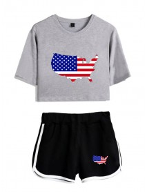 America Flag Print Independence Day Sport Casual Two-Piece Set