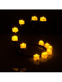 12 Pcs/Lot Led Yellow Flicker Drop Tear Candle Tealight Electronic Flameless Candle Decorations