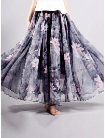 Chiffon Floral Printed Elastic Waist Bohemian Maxi Skirts For Women