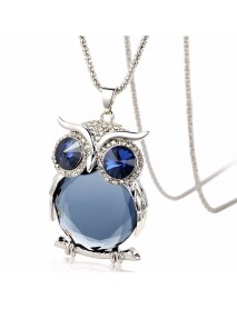 Cute Pendant Necklace Rhinestone Colorful Animals Night Owl Charm Necklace Ethnic Jewelry for Women