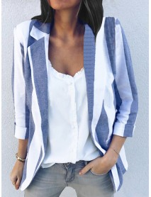 Women Casual Long Sleeve Stripe Office Outerwear Blazers