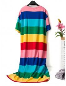 Cotton Long Sleeve Rainbow Stripe Round Neck Nightgown