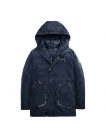 Winter 2 in 1 Thick Warm Padded Jacket Zipper Button Hooded Fashion Casual Men Two-piece Parkas