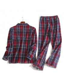 Cotton Comfortable Plaid Long Sleeve Casual Home Sleeping Pajamas Suit for Men