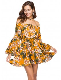 Plus Size Vacation Print Ruffle Sleeve One Shoulder Floral Dress