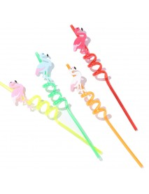 Kitchen Drinking Straw 4Pcs Creative Flamingo Straw Drink Straws Pvc Soft Cartoon Straws
