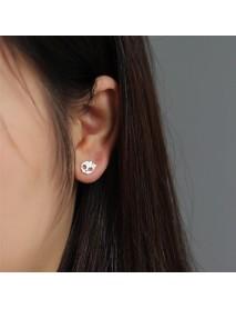 Punk Skull Skeleton Golden Bowknot Ear Stud Vintage Silver Earring Gift for Girl Women
