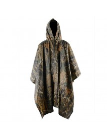 Men Outdoor Flower Camouflage Waterproof Raincoats Drawstring Hoodied Poncho Tops