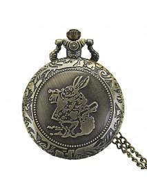 DEFFRUN Fashion Rabbit Pattern Necklace Chain Quartz Pocket Watch