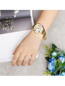 LVPAI Fashion Elegant Landscape Pattern Alloy Mesh Strap Women Wrist Watch Quartz Watch
