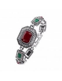 Ethnic Cuff Bracelet Polygonal Rhinestone Colorful Resin Bangle Vintage Jewelry for Women