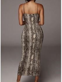 Leopard Snake Print Straps Sleeveless Casual Bodycon Dress