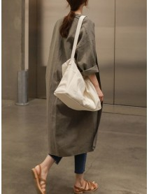 Casual Women Long Sleeve Solid Color Mid-long Cardigans