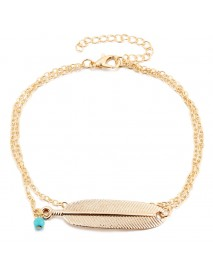 Bohemian Summer Beach Womens Anklet Bracelet Feather Turquoise Charm Multilayer Anklets Foot Chain
