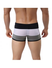 BRAVE PERSON Mens Sexy Striped Mesh Breathable Beach Swimming Shorts Surf Boxers Trunks