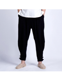 China Wind Linen Cotton Pants Men's Breathable Casual Small Feet Loose Haren Pants