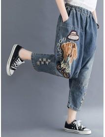 Casual High Elastic Waist Cartoon Embroidery Denim Jeans
