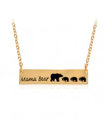 Creative Letters Engraved Mama Bear Pendant Necklace Cute Family Clavicle Necklaces for Women