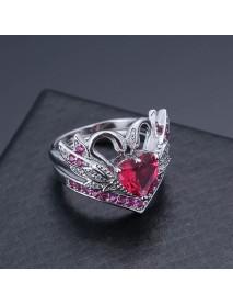 2 Pcs/set Sweet Swan Heart Zirconia Engagement Wedding Ring Unique Gift for Women Girls