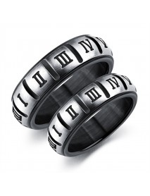 Punk Titanium Steel Lovers Black Roman Digital Couple Ring Popular Jewelry for Men Women