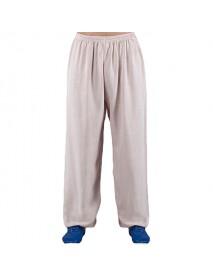Men's Breathable Loose Cotton Linen Morning Practice Pants Summer Casual Soft Sports Yoga Pants