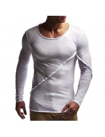 Autumn Leisure Cotton Pure Color O-neck Tops Patchwork Slim Long Sleeve T-shirts for Men