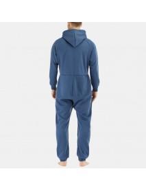 Men  Mulit Pockets Thicken Loungewear Zip Down Jumpsuit Plain Hooded Pajamas