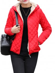 Casual Solid Thick Fleece Hooded Women Short Coats