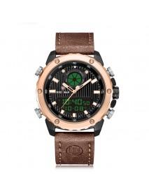 KADEMAN K9073 Fashion Men Digital Watch 3ATM Waterproof Luminous Week Display Leather Strap Dual Display Watch