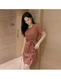 New Solid Color Round Neck Lace Skirt Fashion Slim Stitching Short-sleeved Dress Female Tide