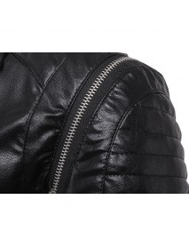 Black Biker Zipper Pockets Synthetic Faux Leather Jacket for Men