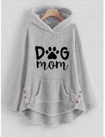 Cartoon Alphabet Embroidery Hooded Fleece Sweatshirt