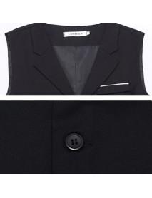 Plus Size Formal Fashion Business Suit Collar Vest Slim Fit Pure Color Waistcoats Jacket