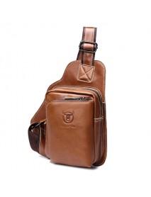 Bullcaptain Men Genuine Leather Sling Bag Business Casual Outdoor Chest Crossbody Bag for Ipad Mini