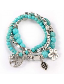 Ethnic Blue Turquoise Beaded Bracelet Hollow Tree Leaves Flower Plant Charm Multilayer Jewelry