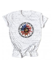 American Flag Love Letter Print Short Sleeved O-neck Casual Women T-shirts