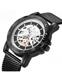BAGARI 1688 Casual Style Mechanical Appearance Quartz Watches Mesh Steel Men Wrist Watch