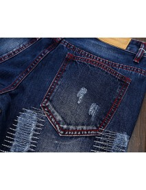 Fashion Coolest Vintage Holes Straight Legs Stone Washed Jeans for Men