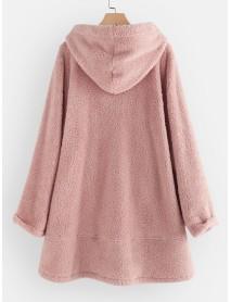 Casual Button Fleece Pockets Hooded Coats For Women