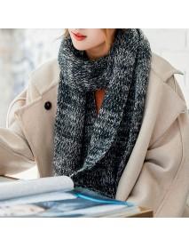 Men Woman Vintage Winter Warm Thicken Knitted Gird Scarf Gradient