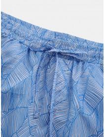Mens Banana Leaves Printed See-Through Sun Protection Holiday Beach Pants
