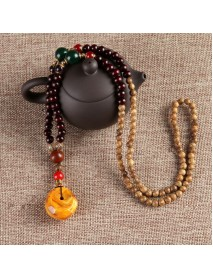 Ethnic Vintage Gourd Beeswax Turquoise Necklace Beaded Charm Necklace for Men Women