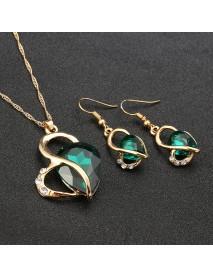 Heart Jewelry Set Water Drop Rhinestone Crystal Earrings Necklace Set Gift for Women