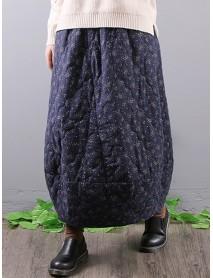 Vintage Floral Print Elastic Waist Pockets Baggy Long Maxi Skirts