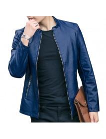 Men Zipper Stand Collar Leather Jacket